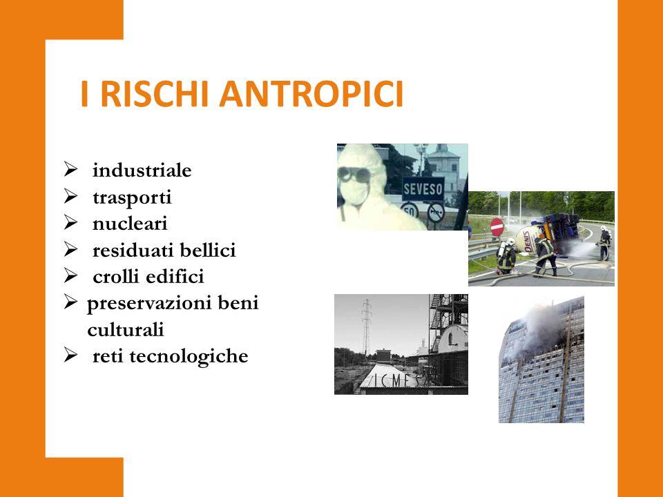  industriale  trasporti  nucleari  residuati bellici  crolli edifici  preservazioni beni culturali  reti tecnologiche I RISCHI ANTROPICI