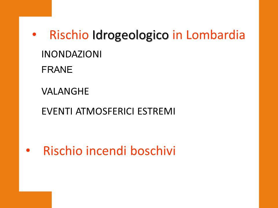 Idrogeologico Rischio Idrogeologico in Lombardia INONDAZIONI FRANE VALANGHE EVENTI ATMOSFERICI ESTREMI Rischio incendi boschivi