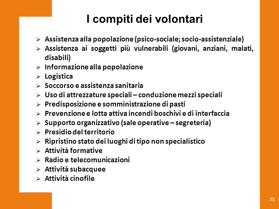 71 I compiti dei volontari  Assistenza alla popolazione (psico-sociale; socio-assistenziale)  Assistenza ai soggetti più vulnerabili (giovani, anzia