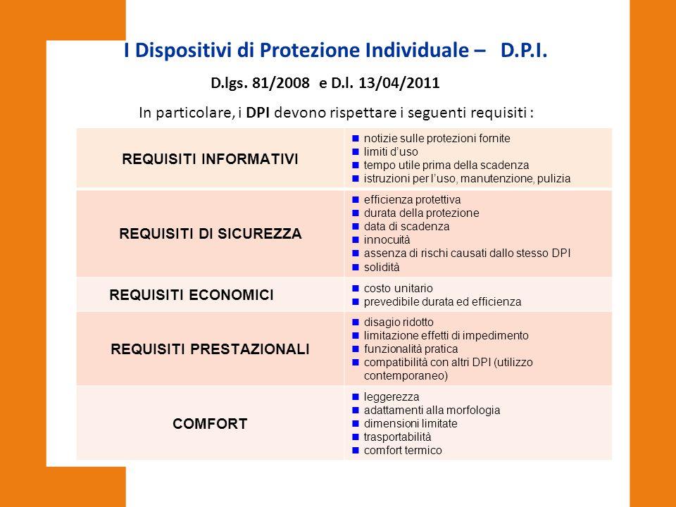 I Dispositivi di Protezione Individuale – D.P.I. D.lgs. 81/2008 e D.l. 13/04/2011 In particolare, i DPI devono rispettare i seguenti requisiti : REQUI