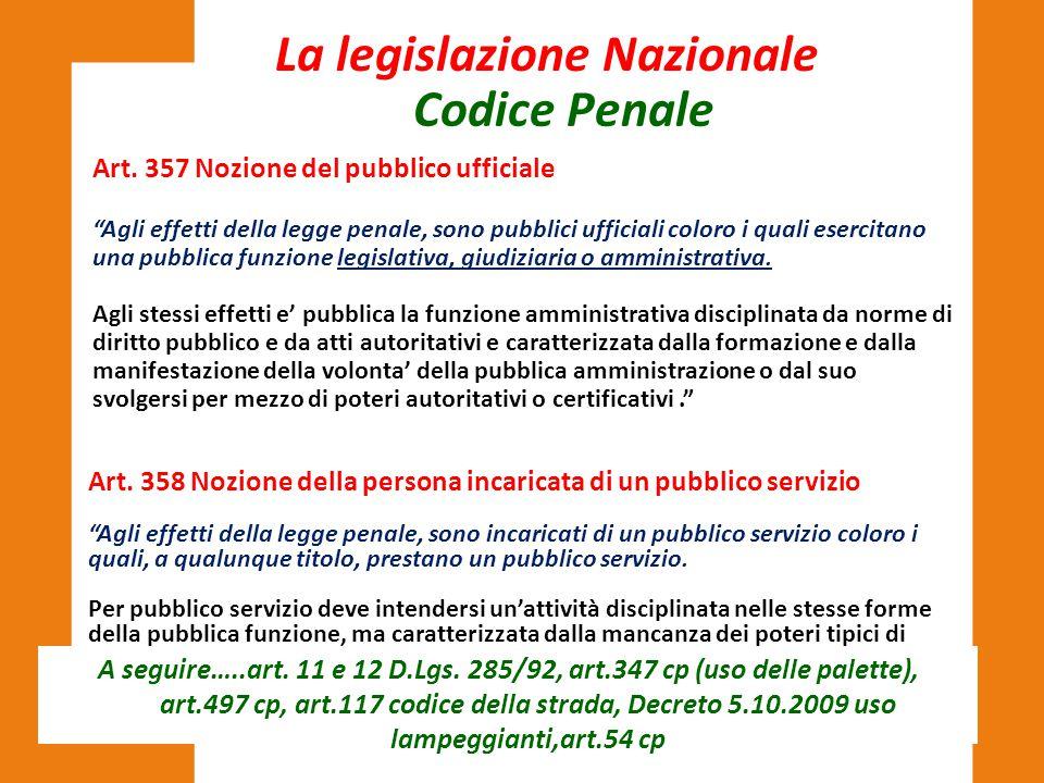 """La legislazione Nazionale Art. 357 Nozione del pubblico ufficiale """"Agli effetti della legge penale, sono pubblici ufficiali coloro i quali esercitano"""