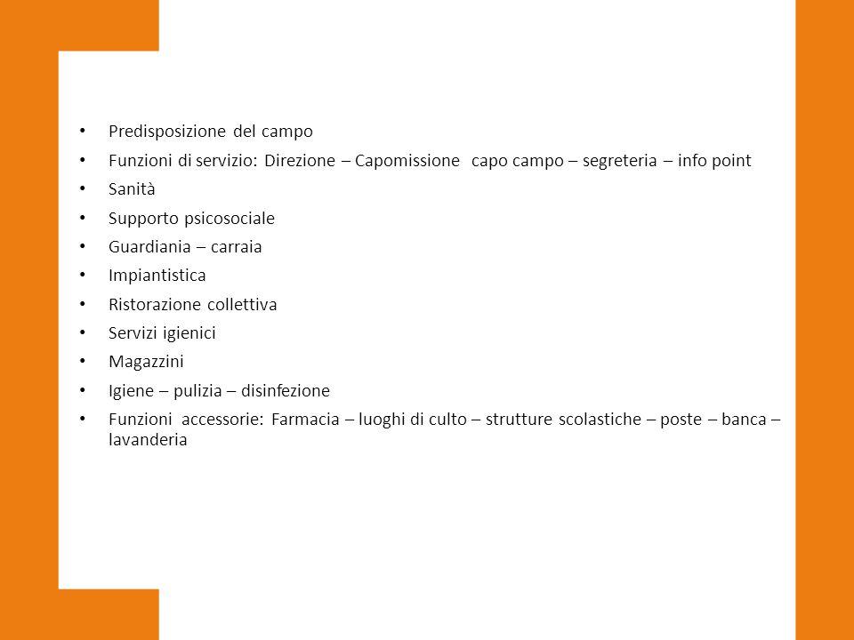 Predisposizione del campo Funzioni di servizio: Direzione – Capomissione capo campo – segreteria – info point Sanità Supporto psicosociale Guardiania