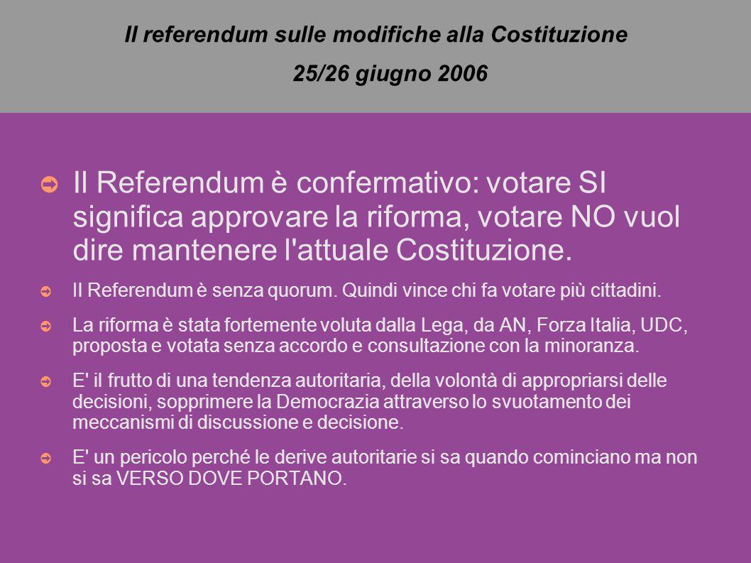 Il referendum sulle modifiche alla Costituzione 25/26 giugno 2006 ➲ Il Referendum è confermativo: votare SI significa approvare la riforma, votare NO vuol dire mantenere l attuale Costituzione.