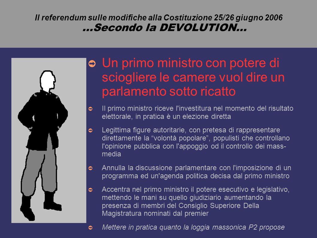 Il referendum sulle modifiche alla Costituzione 25/26 giugno 2006...Secondo la DEVOLUTION...