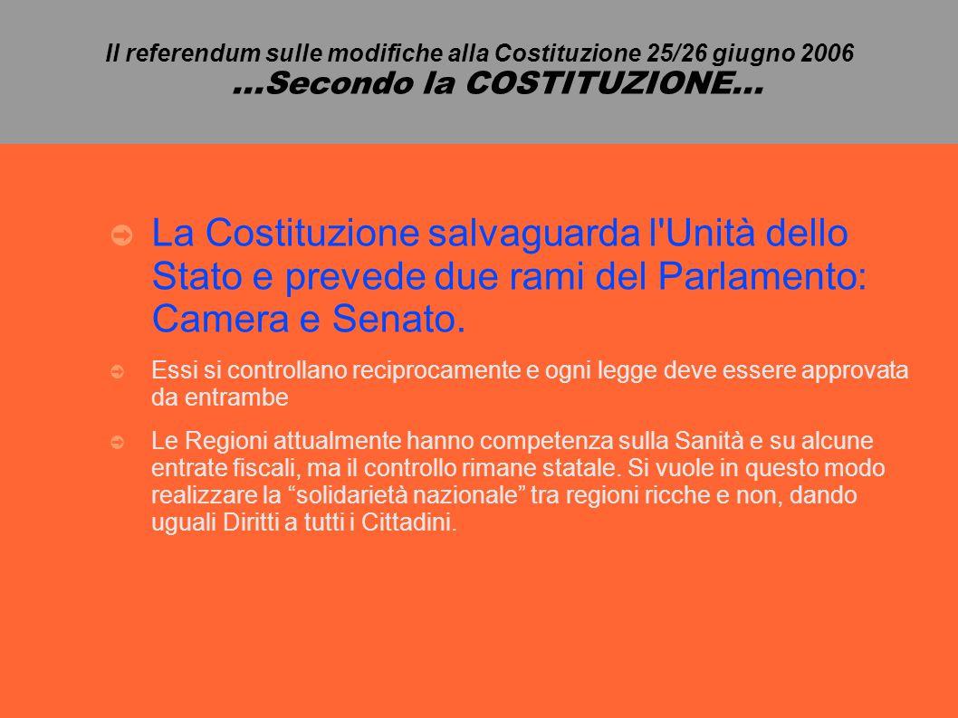 Il referendum sulle modifiche alla Costituzione 25/26 giugno 2006...Secondo la COSTITUZIONE...