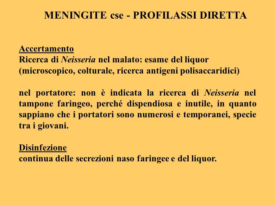 Accertamento Ricerca di Neisseria nel malato: esame del liquor (microscopico, colturale, ricerca antigeni polisaccaridici) nel portatore: non è indica