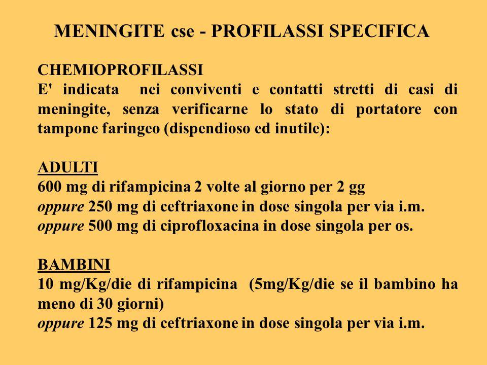 CHEMIOPROFILASSI E' indicata nei conviventi e contatti stretti di casi di meningite, senza verificarne lo stato di portatore con tampone faringeo (dis