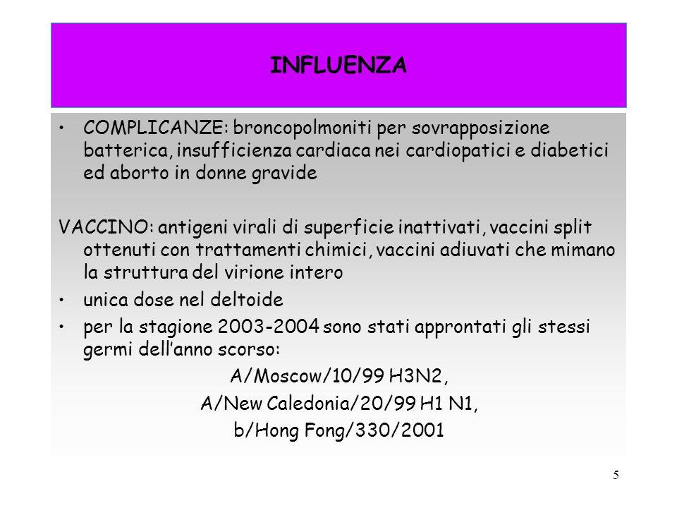 5 INFLUENZA COMPLICANZE: broncopolmoniti per sovrapposizione batterica, insufficienza cardiaca nei cardiopatici e diabetici ed aborto in donne gravide