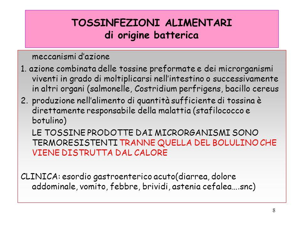 9 TOSSINFEZIONI ALIMENTARI I batteri responsabili Salmonelle (TIFO PARATIFO E SALMONELLE MINORI) TRASMISSIONE TRAMITE ALIMENTI o ACQUE CONTAMINATE DA FECI, umane di pollame e uova SUPERFICI UTENSILI DI CUCINA, MANI DEGLI OPERATORI incubazione: 6 a 72 ore CLOSTRIDIUM PERFRIGENS TRASMISSIONE:piatti di carne e pollami precotti, raffreddati lentamente poi riscaldati lentamente (ABBATTITORE DI TEMPERATURA obbligatorio nelle mense) SINTOMI: 8 -22 ORE