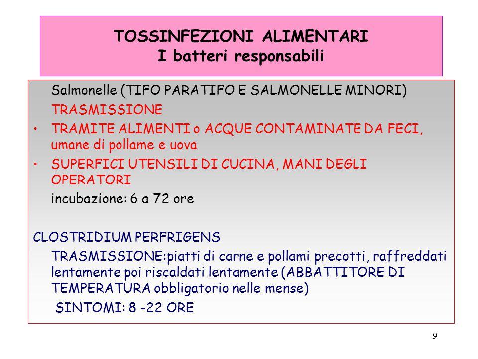 9 TOSSINFEZIONI ALIMENTARI I batteri responsabili Salmonelle (TIFO PARATIFO E SALMONELLE MINORI) TRASMISSIONE TRAMITE ALIMENTI o ACQUE CONTAMINATE DA