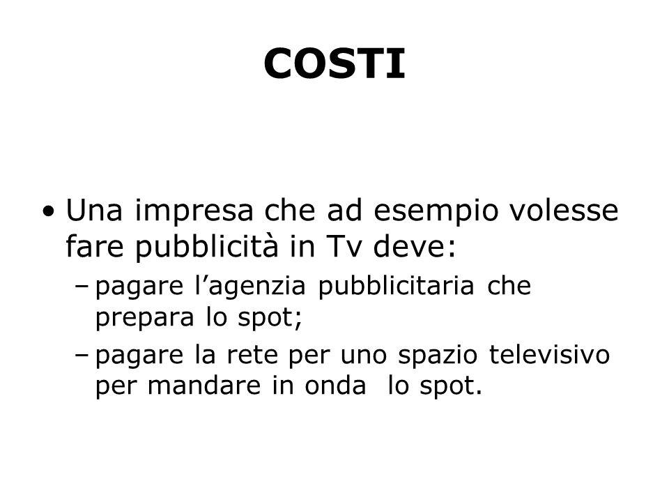 COSTI Una impresa che ad esempio volesse fare pubblicità in Tv deve: –pagare l'agenzia pubblicitaria che prepara lo spot; –pagare la rete per uno spazio televisivo per mandare in onda lo spot.