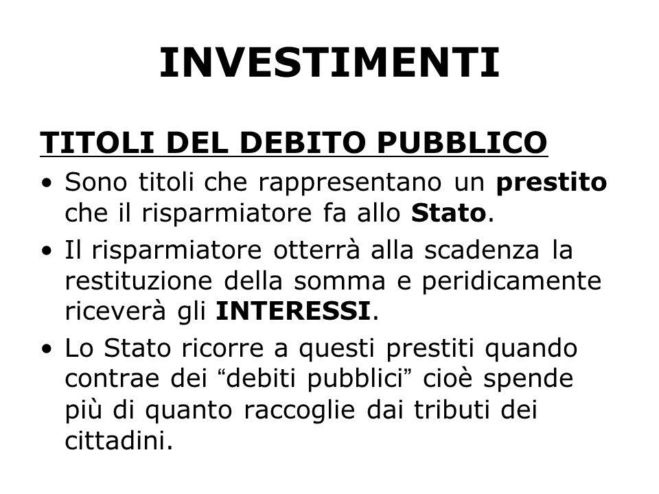 INVESTIMENTI TITOLI DEL DEBITO PUBBLICO Sono titoli che rappresentano un prestito che il risparmiatore fa allo Stato.
