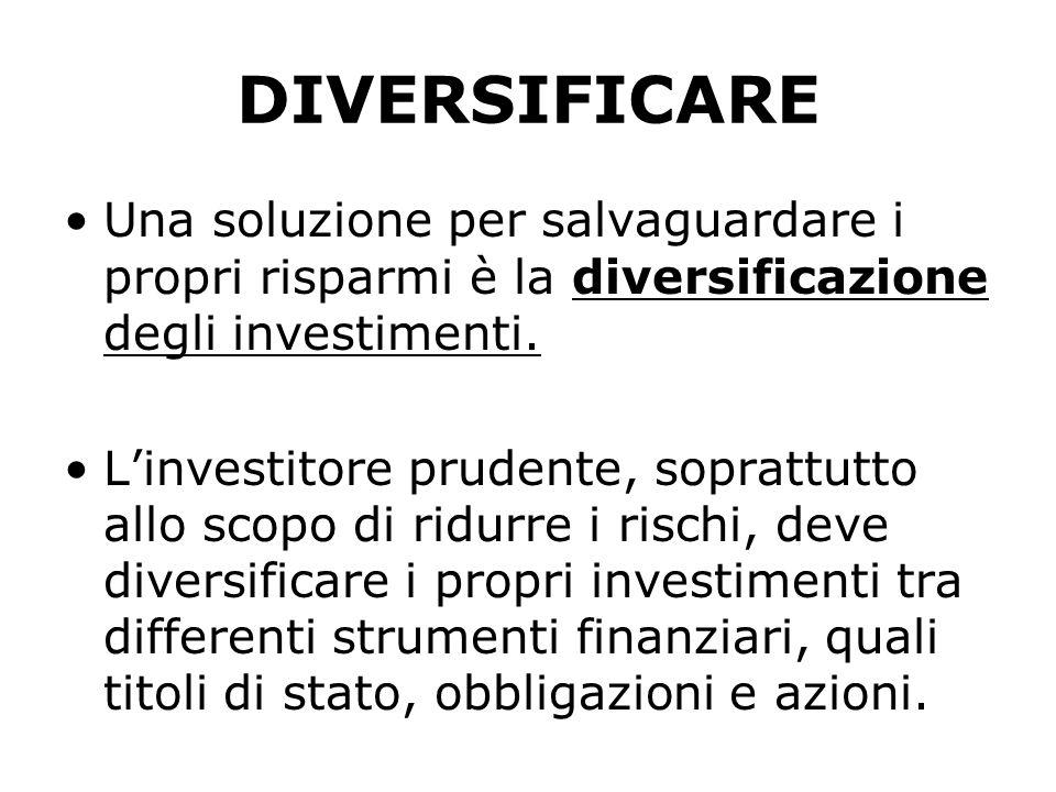 DIVERSIFICARE Una soluzione per salvaguardare i propri risparmi è la diversificazione degli investimenti.