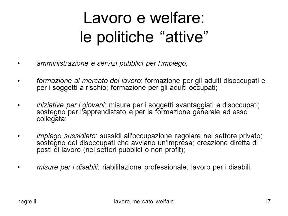 """negrellilavoro, mercato, welfare Lavoro e welfare: le politiche """"attive"""" amministrazione e servizi pubblici per l'impiego; formazione al mercato del l"""