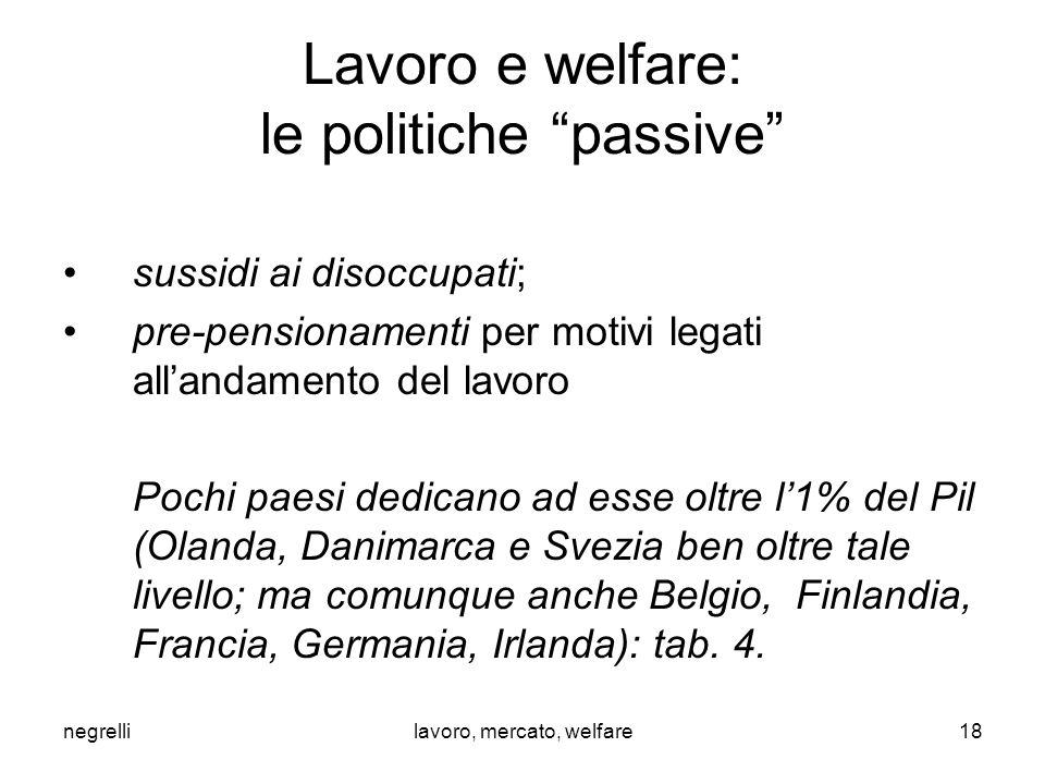 """negrellilavoro, mercato, welfare Lavoro e welfare: le politiche """"passive"""" sussidi ai disoccupati; pre-pensionamenti per motivi legati all'andamento de"""