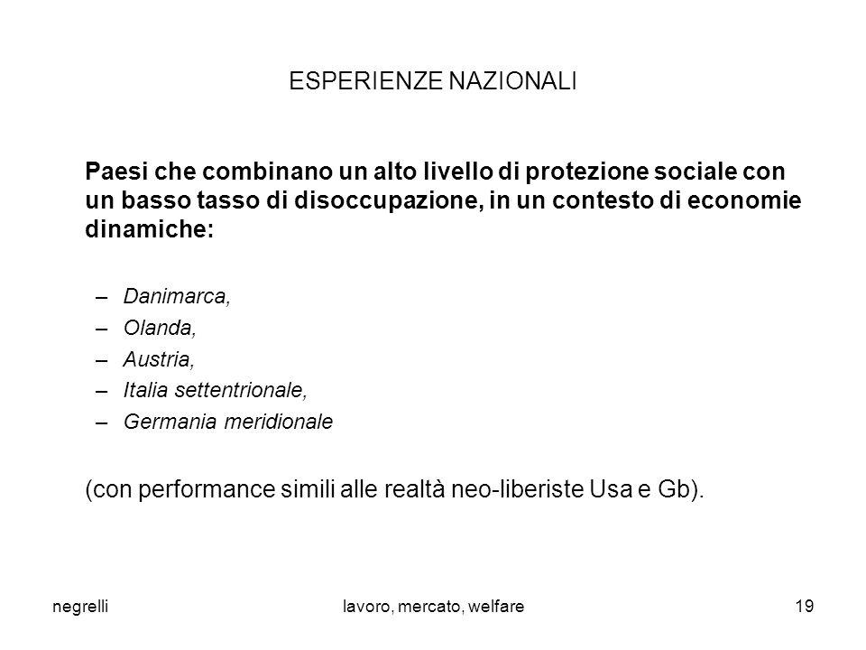 negrellilavoro, mercato, welfare ESPERIENZE NAZIONALI Paesi che combinano un alto livello di protezione sociale con un basso tasso di disoccupazione,