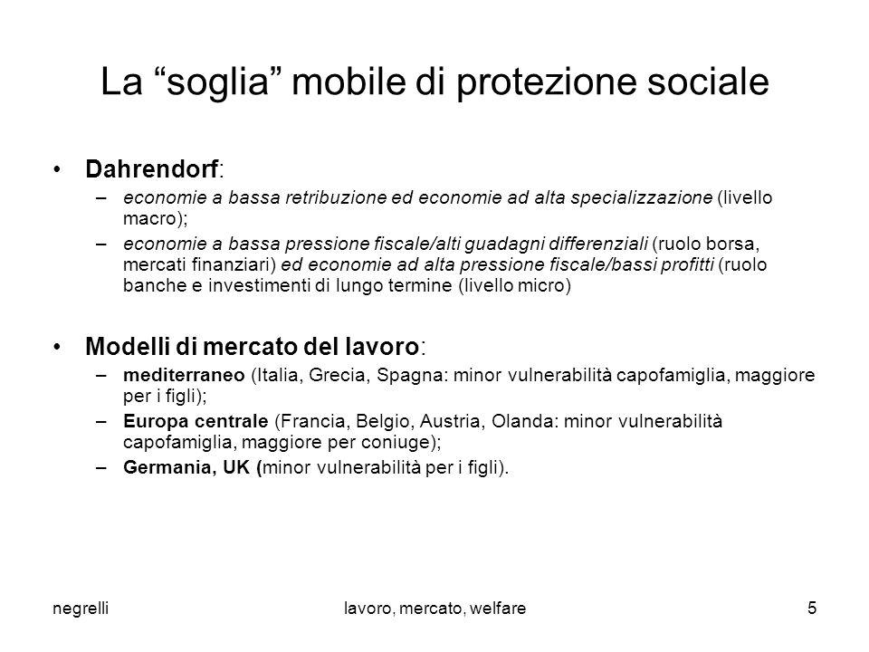 """negrellilavoro, mercato, welfare La """"soglia"""" mobile di protezione sociale Dahrendorf: –economie a bassa retribuzione ed economie ad alta specializzazi"""