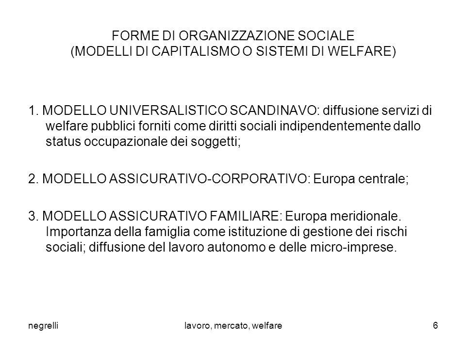 negrellilavoro, mercato, welfare FORME DI ORGANIZZAZIONE SOCIALE (MODELLI DI CAPITALISMO O SISTEMI DI WELFARE) 1. MODELLO UNIVERSALISTICO SCANDINAVO: