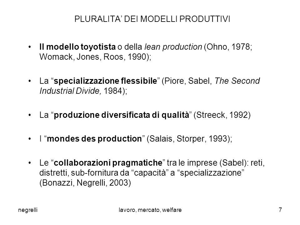 negrellilavoro, mercato, welfare PLURALITA' DEI MODELLI PRODUTTIVI Il modello toyotista o della lean production (Ohno, 1978; Womack, Jones, Roos, 1990); La specializzazione flessibile (Piore, Sabel, The Second Industrial Divide, 1984); La produzione diversificata di qualità (Streeck, 1992) I mondes des production (Salais, Storper, 1993); Le collaborazioni pragmatiche tra le imprese (Sabel): reti, distretti, sub-fornitura da capacità a specializzazione (Bonazzi, Negrelli, 2003) 7