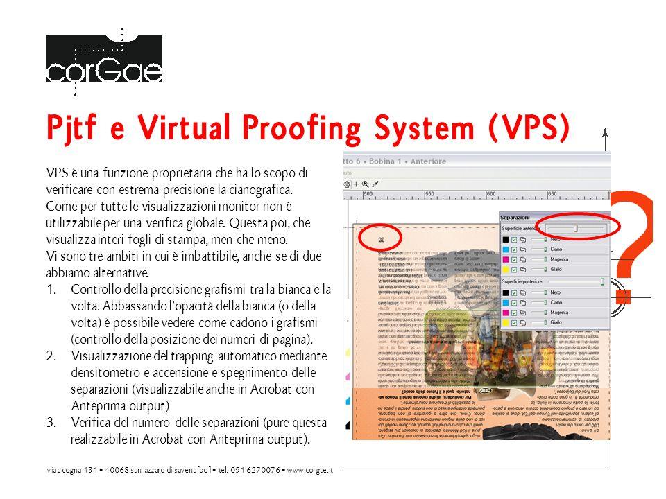 Pjtf e Virtual Proofing System (VPS) VPS è una funzione proprietaria che ha lo scopo di verificare con estrema precisione la cianografica.