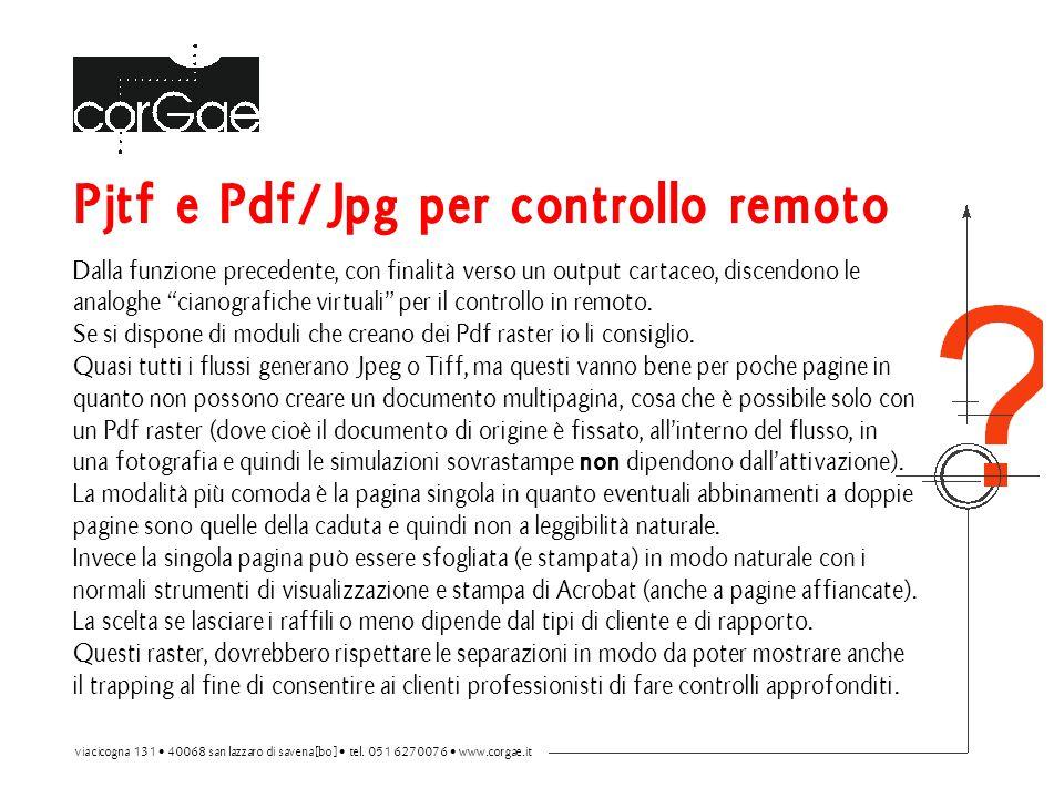 Pjtf e Pdf/Jpg per controllo remoto Dalla funzione precedente, con finalità verso un output cartaceo, discendono le analoghe cianografiche virtuali per il controllo in remoto.