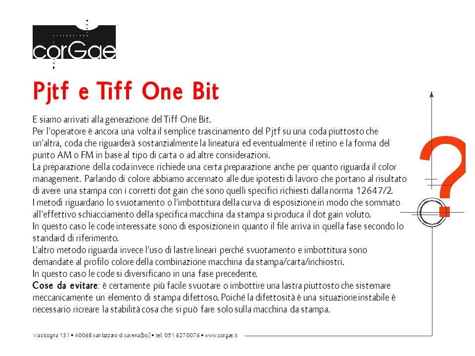 Pjtf e Tiff One Bit E siamo arrivati alla generazione del Tiff One Bit. Per l'operatore è ancora una volta il semplice trascinamento del Pjtf su una c