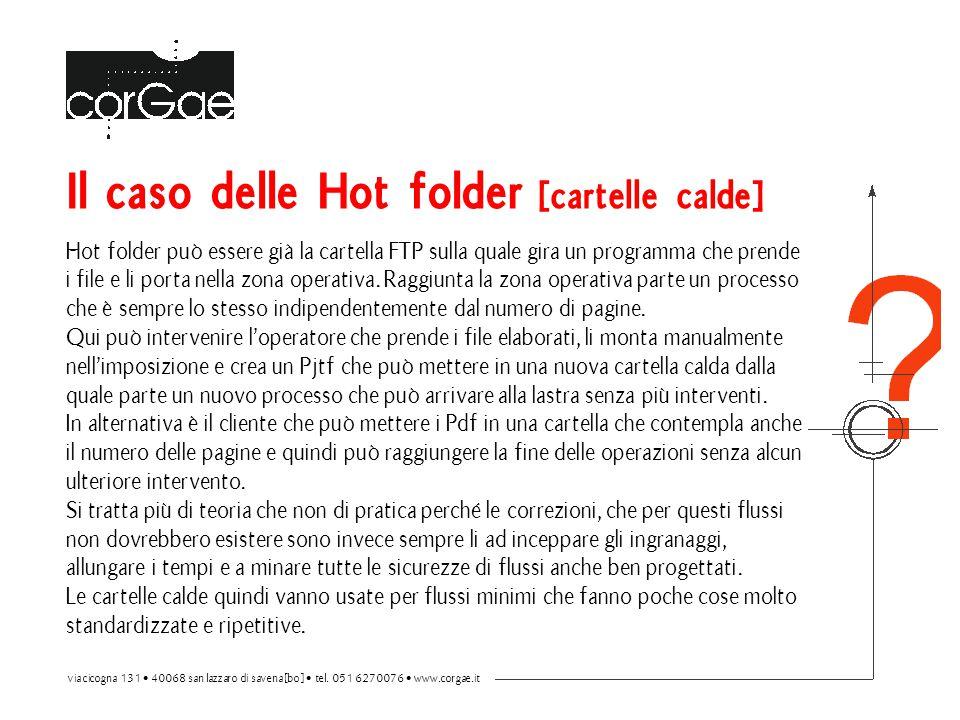 Il caso delle Hot folder [cartelle calde] Hot folder può essere già la cartella FTP sulla quale gira un programma che prende i file e li porta nella zona operativa.