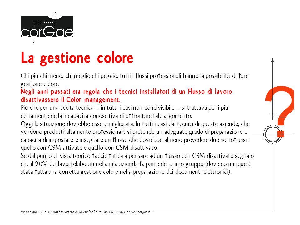 La gestione colore Chi più chi meno, chi meglio chi peggio, tutti i flussi professionali hanno la possibilità di fare gestione colore. Negli anni pass