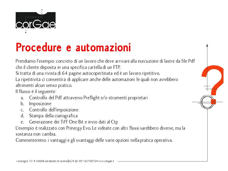 Procedure e automazioni Prendiamo l'esempio concreto di un lavoro che deve arrivare alla esecuzione di lastre da file Pdf che il cliente deposita in u