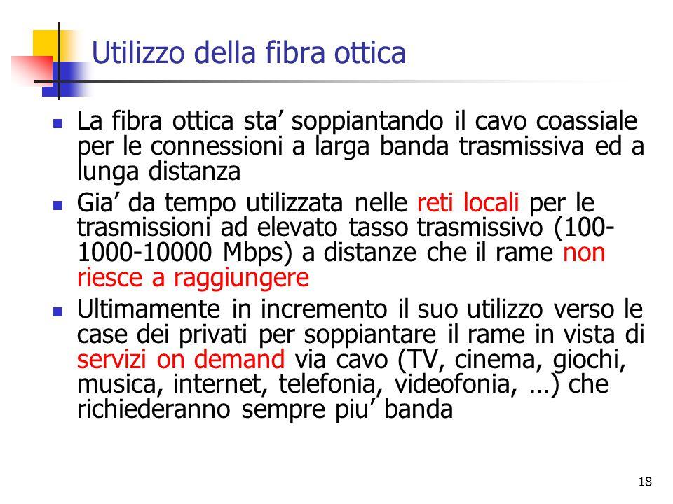 18 Utilizzo della fibra ottica La fibra ottica sta' soppiantando il cavo coassiale per le connessioni a larga banda trasmissiva ed a lunga distanza Gia' da tempo utilizzata nelle reti locali per le trasmissioni ad elevato tasso trasmissivo (100- 1000-10000 Mbps) a distanze che il rame non riesce a raggiungere Ultimamente in incremento il suo utilizzo verso le case dei privati per soppiantare il rame in vista di servizi on demand via cavo (TV, cinema, giochi, musica, internet, telefonia, videofonia, …) che richiederanno sempre piu' banda