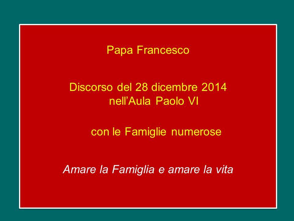 Papa Francesco Discorso del 28 dicembre 2014 nell'Aula Paolo VI con le Famiglie numerose Amare la Famiglia e amare la vita Papa Francesco Discorso del 28 dicembre 2014 nell'Aula Paolo VI con le Famiglie numerose Amare la Famiglia e amare la vita