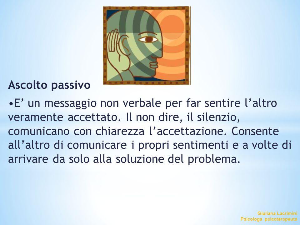 Giuliana Lacrimini Psicologa psicoterapeuta Ascolto passivo E' un messaggio non verbale per far sentire l'altro veramente accettato. Il non dire, il s