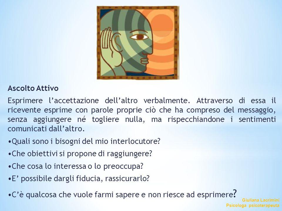 Giuliana Lacrimini Psicologa psicoterapeuta Ascolto Attivo Esprimere l'accettazione dell'altro verbalmente. Attraverso di essa il ricevente esprime co