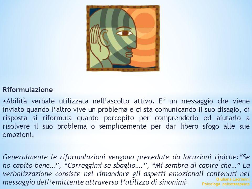 Giuliana Lacrimini Psicologa psicoterapeuta Riformulazione Abilità verbale utilizzata nell'ascolto attivo. E' un messaggio che viene inviato quando l'