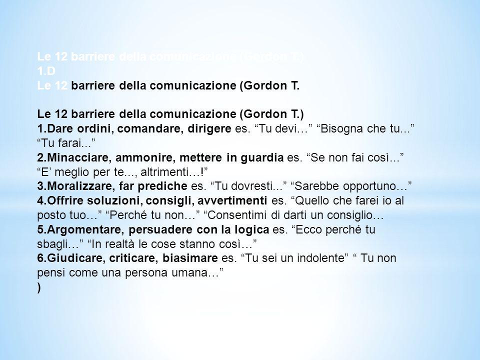 Le 12 barriere della comunicazione (Gordon T.) 1.D Le 12 barriere della comunicazione (Gordon T. Le 12 barriere della comunicazione (Gordon T.) 1.Dare