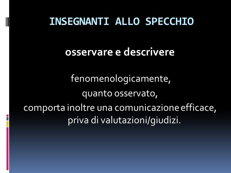 INSEGNANTI ALLO SPECCHIO osservare e descrivere fenomenologicamente, quanto osservato, comporta inoltre una comunicazione efficace, priva di valutazioni/giudizi.