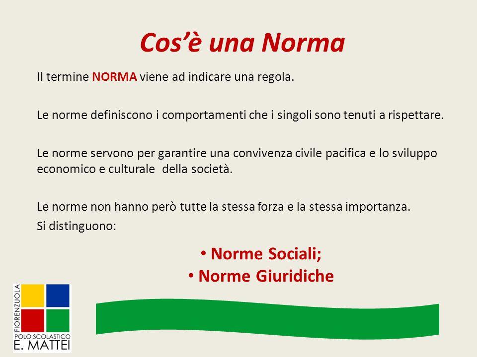 Cos'è una Norma Il termine NORMA viene ad indicare una regola. Le norme definiscono i comportamenti che i singoli sono tenuti a rispettare. Le norme s