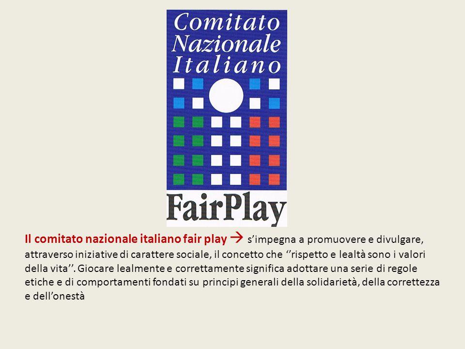 Il comitato nazionale italiano fair play  s'impegna a promuovere e divulgare, attraverso iniziative di carattere sociale, il concetto che ''rispetto