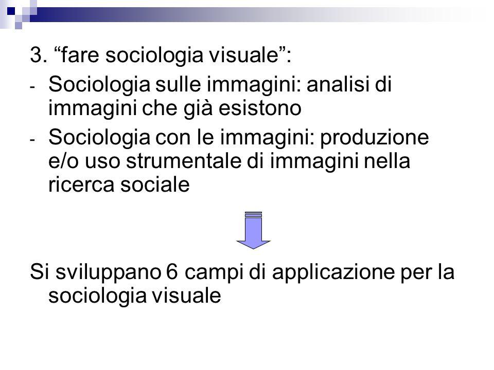 """3. """"fare sociologia visuale"""": - Sociologia sulle immagini: analisi di immagini che già esistono - Sociologia con le immagini: produzione e/o uso strum"""