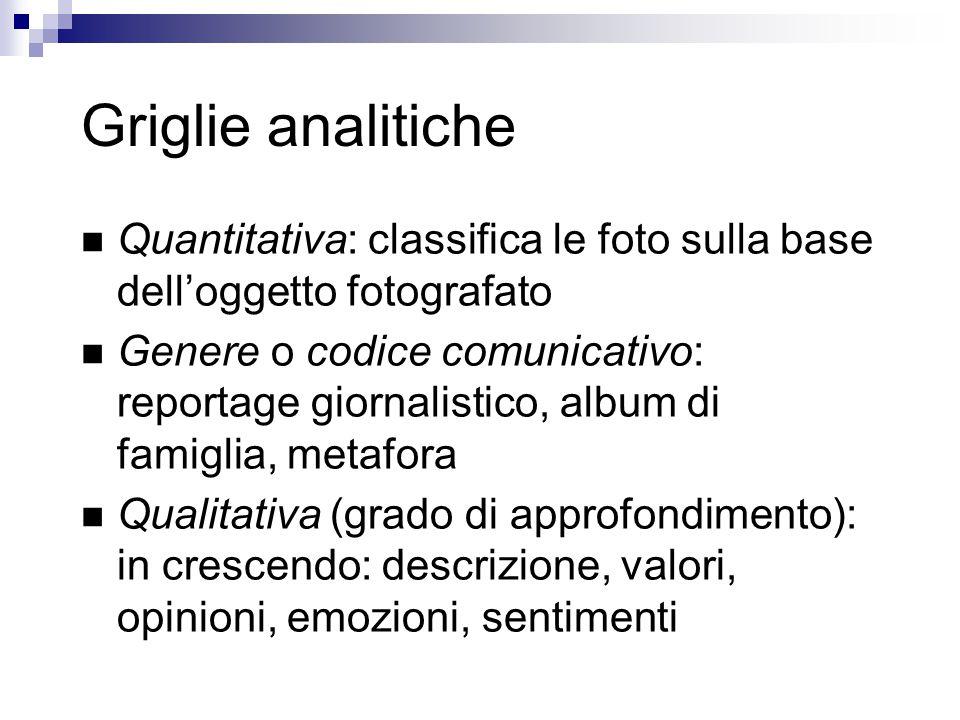Griglie analitiche Quantitativa: classifica le foto sulla base dell'oggetto fotografato Genere o codice comunicativo: reportage giornalistico, album d