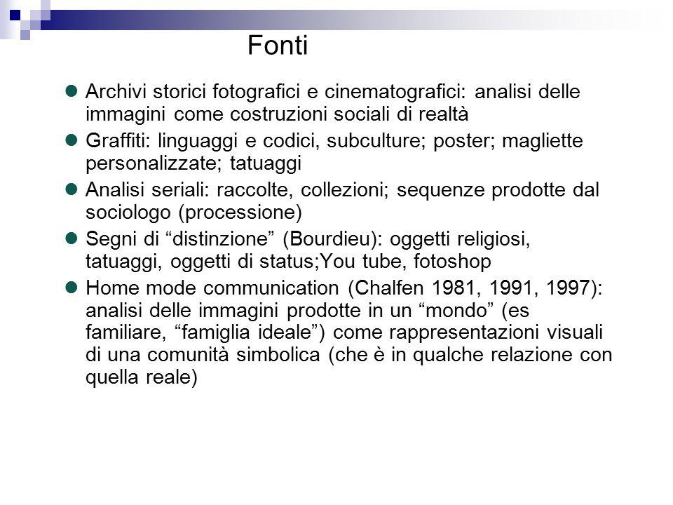 Archivi storici fotografici e cinematografici: analisi delle immagini come costruzioni sociali di realtà Graffiti: linguaggi e codici, subculture; pos