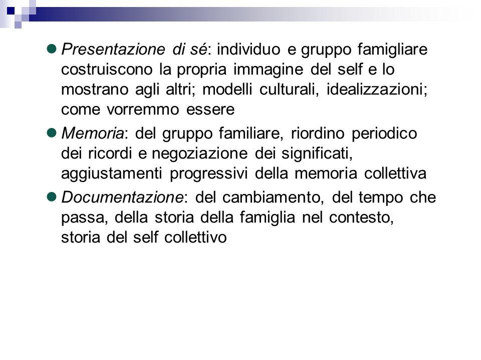 Presentazione di sé: individuo e gruppo famigliare costruiscono la propria immagine del self e lo mostrano agli altri; modelli culturali, idealizzazio