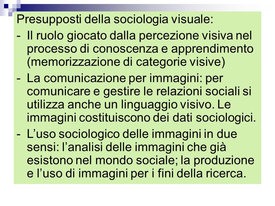 Presupposti della sociologia visuale: -Il ruolo giocato dalla percezione visiva nel processo di conoscenza e apprendimento (memorizzazione di categori