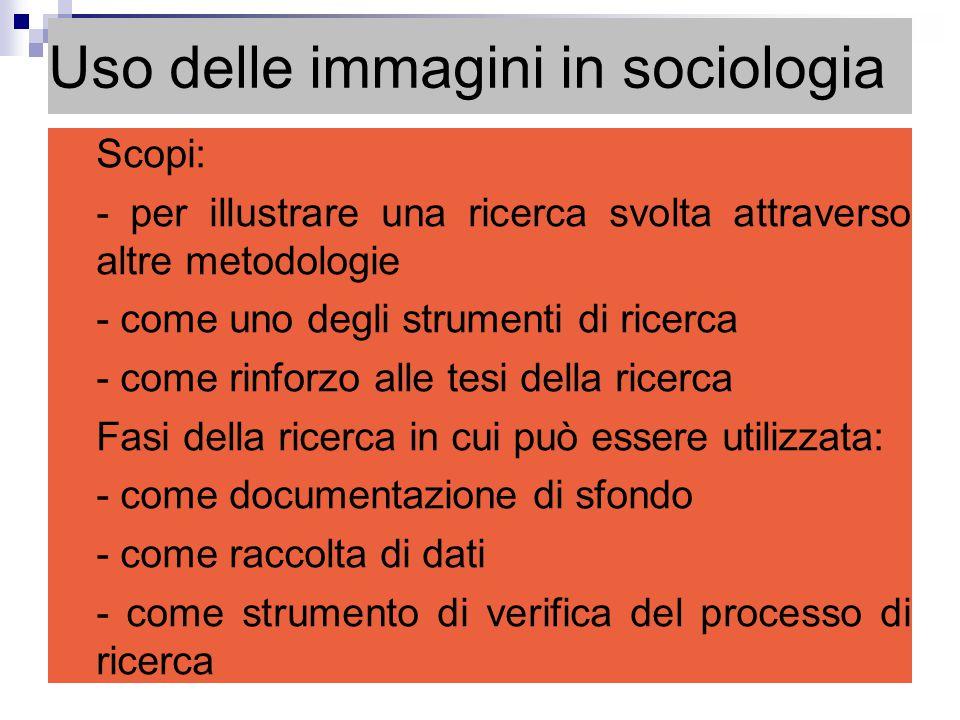 Uso delle immagini in sociologia Scopi: - per illustrare una ricerca svolta attraverso altre metodologie - come uno degli strumenti di ricerca - come