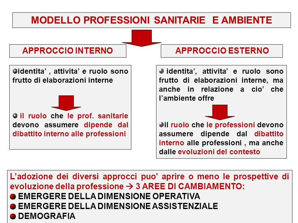 MODELLO PROFESSIONI SANITARIE E AMBIENTE identita', attivita' e ruolo sono frutto di elaborazioni interne il ruolo che le prof. sanitarie devono assum
