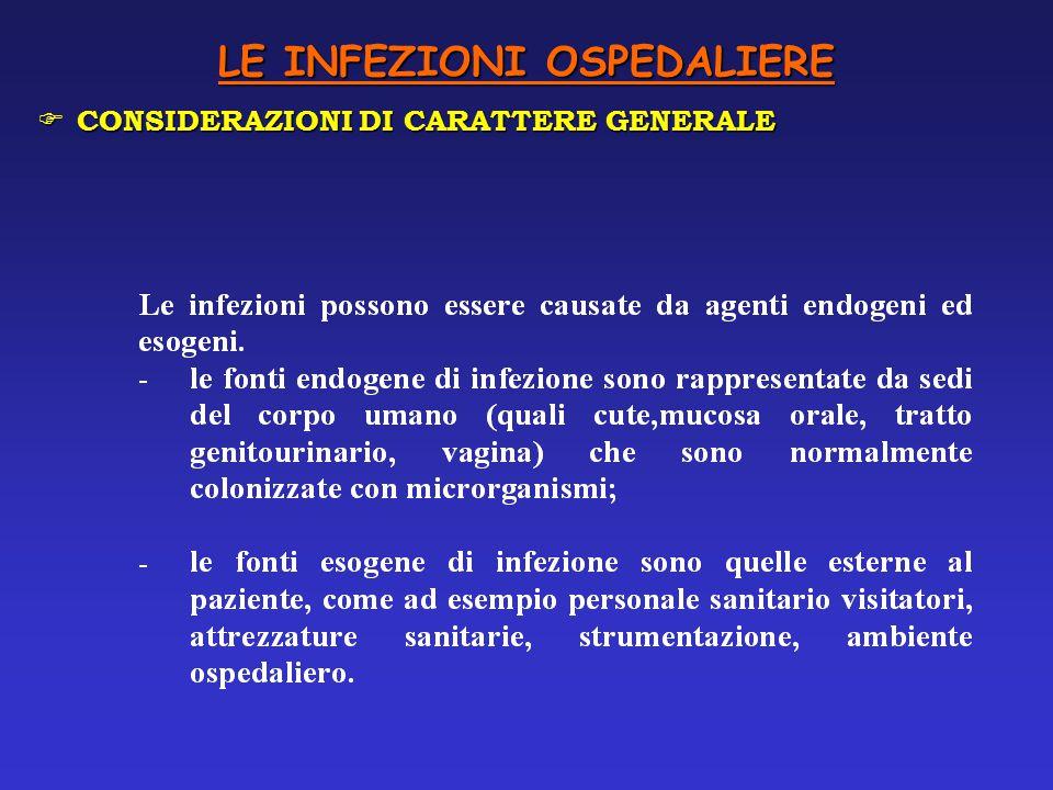 LE INFEZIONI OSPEDALIERE F CONSIDERAZIONI DI CARATTERE GENERALE