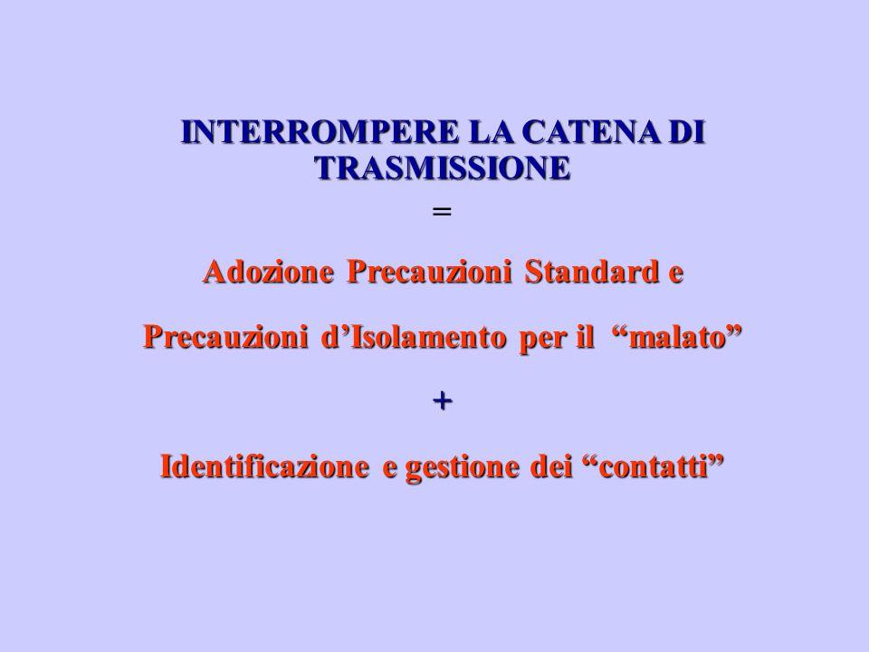 """INTERROMPERE LA CATENA DI TRASMISSIONE = Adozione Precauzioni Standard e Precauzioni d'Isolamento per il """"malato"""" + Identificazione e gestione dei """"co"""
