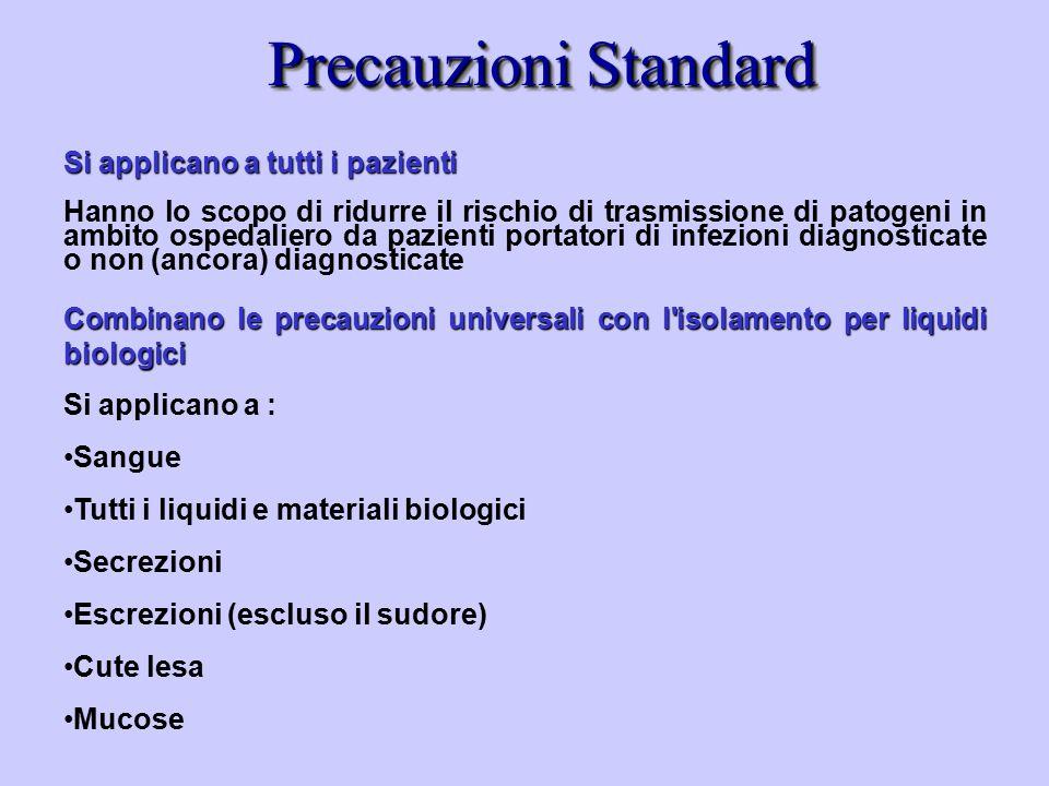 Precauzioni Standard Si applicano a tutti i pazienti Hanno lo scopo di ridurre il rischio di trasmissione di patogeni in ambito ospedaliero da pazient