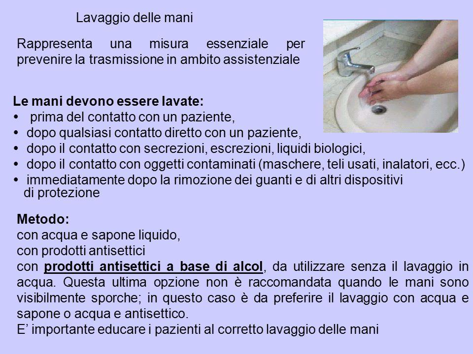 Rappresenta una misura essenziale per prevenire la trasmissione in ambito assistenziale Lavaggio delle mani Metodo: con acqua e sapone liquido, con pr