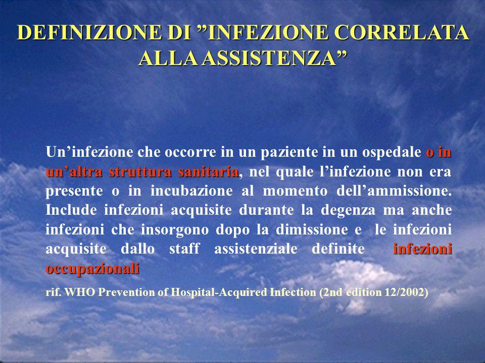 Impatto epidemiologico-sanitario delle infezioni ospedaliere in Italia nIncidenza: 5-8% n450.000-700.000 casi di infezione ospedaliera/anno nDirettamente responsabili di 4500-7000 decessi nSe il 30% prevenibile 135.000-210.000 IO evitabili 1350-2100 decessi evitabili Moro, 2000